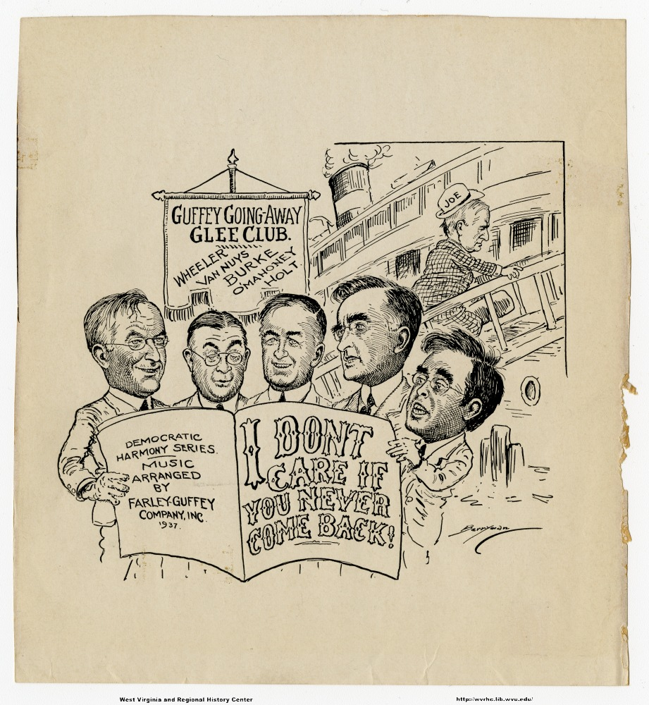 "(Guffey going-away glee club.  Wheeler, Van Nuys, Burke, O'Mahoney, Holt.) (Democratic harmony series.  Music arranged by Farley-Guffey Company Inc. 1937.) ""I don't care if you never come back."""