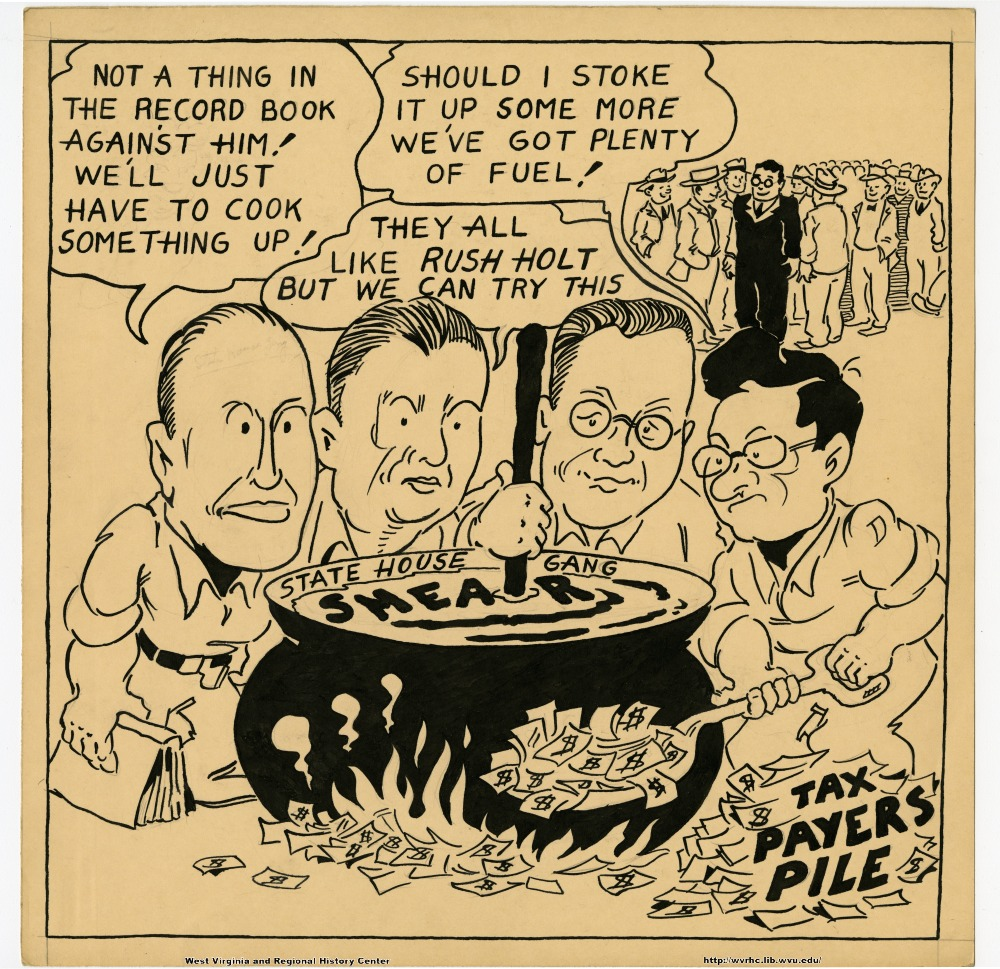 """Not a thing in the record book against him!  We'll just have to cook something up!"" ""Should I stoke it up some more we've got plenty of fuel!"" ""They all like Rush Holt, but we can try this."" (State House Gang smear.) (Tax payers pile.)"