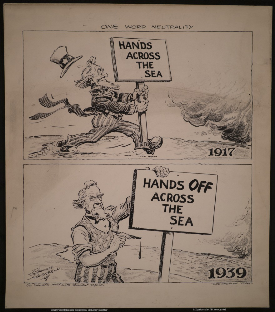 (One word neutrality.) (Hands across the sea) (1917) (Hands off across the sea) (1939)