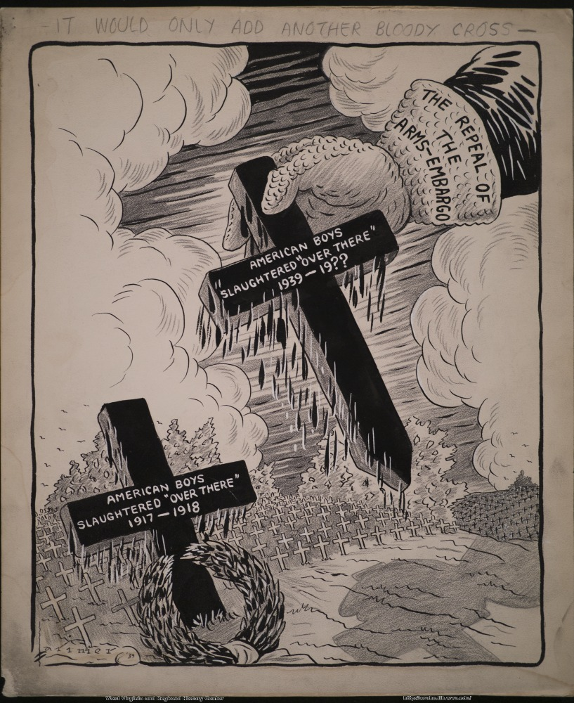 "(It would only add another bloody cross.) (The repeal of the arms-embargo) (American boys slaughtered ""over there"";  1939-19??) (American boys slaughtered ""over there"";  1917-1918)"